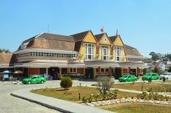 Da Lat, Vietnam, January, 20, 2015. Nobody, cars near the building of the railway station in Da lat, Vietnam Stock Images