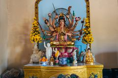 DA LAT, VIETNAM - MARCH 9, 2017: The interior of the Temple of the Golden Buddha in Van Hanh Pagoda in Da Lat. Vietnam Stock Images