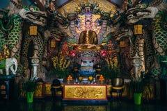 DA LAT, VIETNAM - MARCH 9, 2017: The interior of the Temple of the Golden Buddha in Van Hanh Pagoda in Da Lat. Vietnam Stock Photography