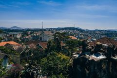 DA LAT, VIETNAM - MARCH 9, 2017: A view of the Dalat city in Vietnam. Out the Hang Nga Guest House stock images