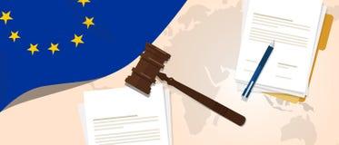 Da legislação legal de justiça do julgamento da constituição da lei da UE da união de Europa conceito experimental usando o papel ilustração royalty free