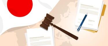 Da legislação legal de justiça do julgamento da constituição da lei de Japão conceito experimental usando o papel e a pena do mar ilustração royalty free