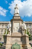 da-leonardo-monument till vincien royaltyfri foto