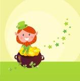 Día Leprechaund del St. Patrick con el crisol de oro Fotografía de archivo libre de regalías