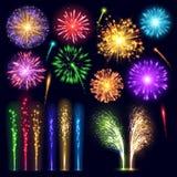 Da luz realística da explosão da noite do evento do feriado da celebração do estilo do fogo de artifício a ilustração festiva do  ilustração do vetor
