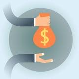 Da mão da posse executivos do saco do dinheiro com sinal de dólar ilustração do vetor