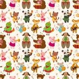 Da música animal do jogo dos desenhos animados teste padrão sem emenda Imagens de Stock Royalty Free