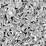 Da música desenhado à mão das garatujas dos desenhos animados teste padrão sem emenda Imagem de Stock Royalty Free