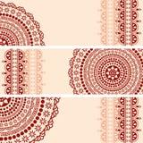 Da mandala oriental da hena de Borgonha e de creme bandeiras horizontais Imagens de Stock