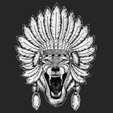 Da mantilha indiana étnica tradicional animal do boho de Wolf Dog Wild elemento tribal do Ceremonial do chapéu do curandeiro ilustração stock