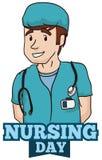 Día masculino sonriente de Commemorating International Nurses de la enfermera, ejemplo del vector Imágenes de archivo libres de regalías