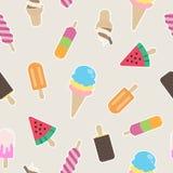 Da melancia sem emenda da baunilha do chocolate do copo do waffle do cone do teste padrão do gelado o vetor doce dos doces isolou Imagens de Stock Royalty Free