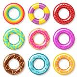 an?is da nadada As crianças coloridas nadadoras da associação da boia do anel flutuam inflatables que os brinquedos encalham o ve ilustração royalty free
