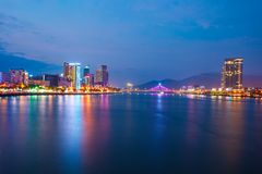 Danang city skyline aerial view. Da Nang city centre skyline aerial panoramic view. Danang is the fourth largest city in Vietnam stock images