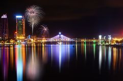 Da Nang city at night with fire work royalty free stock photography