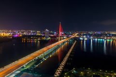 Da Nang, Vietnam – Business and Administrative District of Da Nang city on the Han River during night with night views. Picture. Da Nang, Vietnam stock images