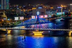 Da Nang, Vietnam – Business and Administrative District of Da Nang city on the Han River during night with night views. Picture. Da Nang, Vietnam royalty free stock image