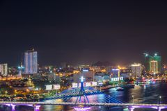 Da Nang, Vietnam – Business and Administrative District of Da Nang city on the Han River during night with night views. Picture. Da Nang, Vietnam stock photo
