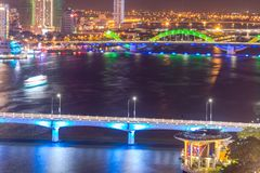 Da Nang, Vietnam – Business and Administrative District of Da Nang city on the Han River during night with night views. Picture. Da Nang, Vietnam stock photography