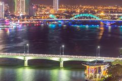 Da Nang, Vietnam – Business and Administrative District of Da Nang city on the Han River during night with night views. Picture. Da Nang, Vietnam stock image
