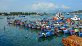 Wooden boats docking at Da Nang Pier stock photography
