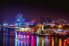 DA NANG, VIETNAME - 19 DE MARÇO DE 2017: Nightview no Da Nang, Vietname da paisagem Imagens de Stock