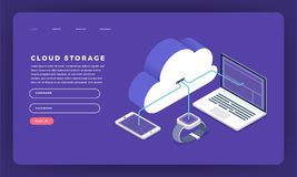 Da nuvem lisa do conceito de projeto do Web site do projeto do modelo techn de computação ilustração royalty free