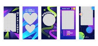 Da página móvel colorida do App do molde da história de Instagram grupo a bordo da tela Amizade Violet Green Design Banner azul M ilustração stock