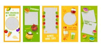 Da página móvel do App da receita da dieta de alimento do molde da história de Instagram grupo a bordo da tela Projeto colorido d ilustração stock