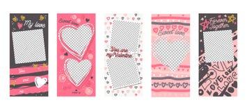 Da p?gina m?vel colorida do App do molde da hist?ria de Instagram grupo a bordo da tela Amor doce Rose Red White Design Banner Me ilustração do vetor