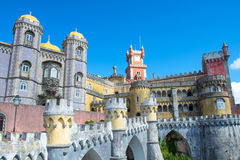 Da Pena Palace in Sintra. On a blue day Royalty Free Stock Photo