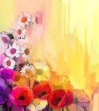 Da pintura a óleo a vida ainda da cor branca, amarela e vermelha floresce Imagem de Stock