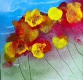 Da pintura floral quadrada acrílica dos wildflowers do sumário cores intensas ilustração stock