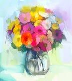 Da pintura a óleo a vida ainda do gerbera amarelo e vermelho floresce Imagem de Stock