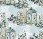 Da pintura sem emenda cor-de-rosa azul do teste padrão do ano novo do Natal da vela da lâmpada vetor textured ilustração stock