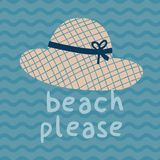 Da praia cartaz da cópia do chapéu do verão por favor Imagens de Stock