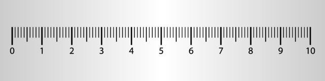 10 da régua centímetros de ferramenta da medida com escala dos números Carta do cm do vetor com sistema de grade do milímetro ilustração do vetor