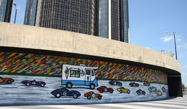 Da Race Detroit! 2014 mural in Detroit, MI. DETROIT, MI - JULY 6: Da Race, Detroit! 2014, a public mural by New York City muralist Mitchell Schorr located near royalty free stock image