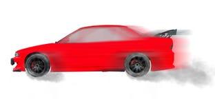 Da rotação vermelha do movimento do carro da tração roda de giro do pneu com fumo do drak mim foto de stock royalty free