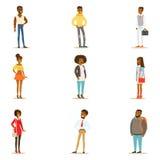 Da rua do estilo pessoas negras afro-americanas do grupo da roupa de estar dos personagens de banda desenhada ilustração stock
