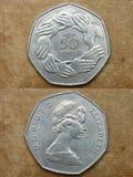 Da série: moedas do mundo. Inglaterra. 50 MOEDAS DE UM CENTAVO. Foto de Stock Royalty Free