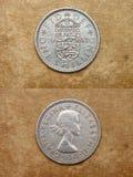 Da série: moedas do mundo. Inglaterra. UM XELIM. Imagens de Stock Royalty Free