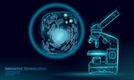 Da síntese artificial da pilha do microscópio bioquímica de pilha humana animal do desenhista Projetando o conceito da pesquisa d ilustração stock