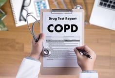 Da saúde crônica da doença pulmonar obstrutiva de COPD concep médico Imagens de Stock