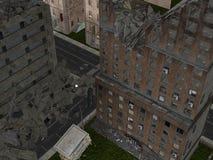 Da solo nelle rovine di CityCity Illustrazione Vettoriale