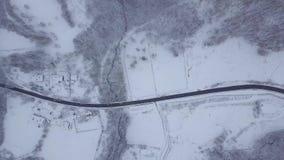 Da sopra la vista di terreno congelato stock footage