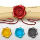 2da tarjeta de felicitación del aniversario con el otro sello de la cera del color Imagen de archivo