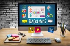 Da tecnologia em linha de Backlinks da Web da tecnologia de Backlinks Web em linha fotografia de stock