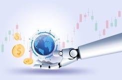 Da tecnologia esperta futurista do investimento do vetor do gráfico dos estrangeiros do mercado de valores de ação do robô da mão ilustração royalty free