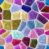 Da textura rochoso irregular do teste padrão de mosaico do mármore do assoalho fundo sem emenda colorido com grout branco - cor v Fotos de Stock